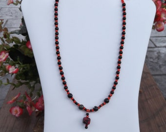 Red and Black  necklace and earring set