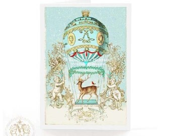 Christmas card, hot air balloon, deer, reindeer, Cherub, French, vintage style, winter, snow, blue, gold, holiday card