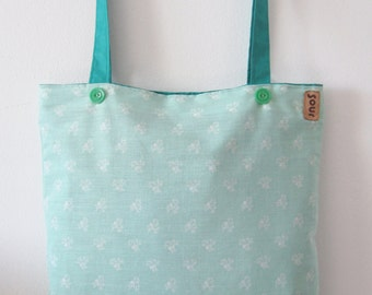 ON SALE Top Side Floral Mint and TurquoiseTote Bag with White and Teal tips
