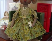 Pattern primitive folkart mice doll, Prim epattern, Missy Mouse Doll with cheese