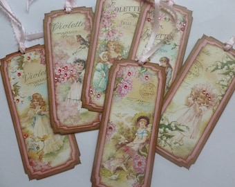 Bookmarks or tags, french themed, vintage children, pink, floral, little girls, party favor tags, book club gifts - set of 6