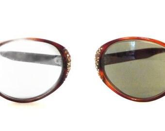 Oval Rhinestone Cat Eye Glasses Vintage USA Frame/ 60s Eyeglasses or Sunglasses / Mad Men / Designer Vintage Eyewear Jackie O Mid Century