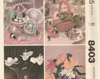 Cloth Flowers Vintage Pattern -Fabric Easter Baskets Bunny Rabbits -McCalls Craft 8403 How to Make Tulip Poppy Daisy Coneflower Spring Decor