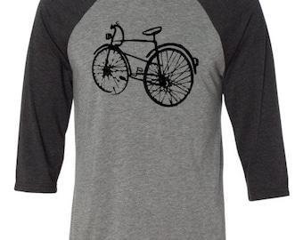 Bicycle T-shirt -THE BLACK BIKE-Bicycle Baseball Shirt-Road Bike T-shirt,Bike Gift, Mountain Bike Gift,gift for cyclists,commuter bike