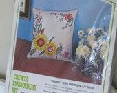 "Vintage Pillow Kit - Cascade Flowers - Crewel Embroidery - 16""x16"" - Bucilla - Retro Cushion Kit - Craft Supply"