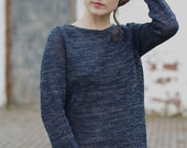 Melange Linen Jersey Dress. Navy Blue + Grey