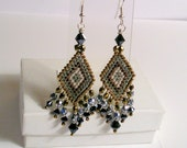 Diamond Design Seed Beaded Earrings - Chandelier Bronze, Silver & Gunmetal, Diamond Pattern