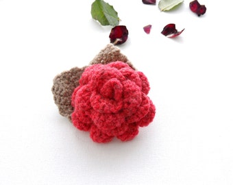Crochet Brooch - Rose Brooch - Corsage Brooch Pin -  Red Wool Rose