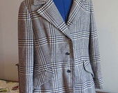 RESERVED   Vintage 1970s   Woman's Wool Plaid Blazer   Blue and White   Size Large