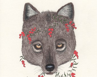 Wolf red flowers, art print, woodland forest, animal drawing