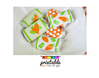 INSTANT DOWNLOAD Peas and Carrots Printable Miniature Candy Bar Wraps - Please Read Description Thoroughly