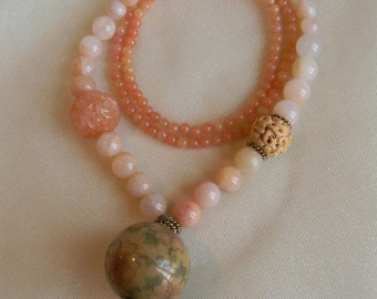 Scrimshaw antler bead pendant w sun stone & rose quartz beads necklace , beaded jewelry , antler jewelry , sun stone necklace , unusual