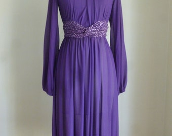 70's Purple Dress Sparkles Cocktail Chiffon Sequins Sheer Party Designer Dress Small