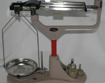 Vintage Ohaus 3600 DecoOGram Triple Beam Scale and Weights