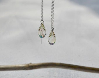 Luminous Green Swarovski Crystal 3 Inch Sterling Silver Threader Earrings - Handmade Jewelry - Bridesmaid Earrings - Minimalist Jewelry