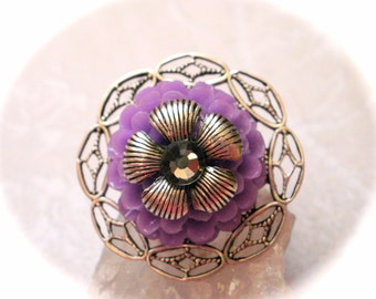 Purple Dahlia Ring, Silver Flower Ring, Purple Flower Ring, Silver Lace Filigree Adjustable Ring, Romantic Jewelry, Gift for Her Unique Gift