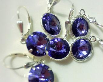 Tanzanite Earrings, Purple Swarovski Crystal Drops, Sterling Silver Leverbacks