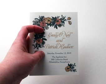 """Floral Wedding Ceremony Program Booklet, 5.5x8.5"""" in Blush, Peach, Black and Green - can be customized to match wedding"""