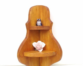 Vintage Wooden Shelf | Corner Shelf | 2 Tier Shelf | Wall Shelf | Small Book Shelf