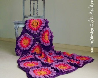 PDF Crochet Pattern Blanket granny square Flower Power  - granny chic crochet floral blankie - Instant DOWNLOAD