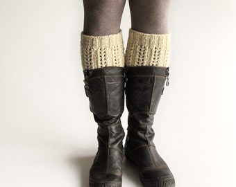 Hand Knitted Boot Cuffs - Boot Toppers, Leg Warmers - Natural Organic Undyed Wool - Unbleached White
