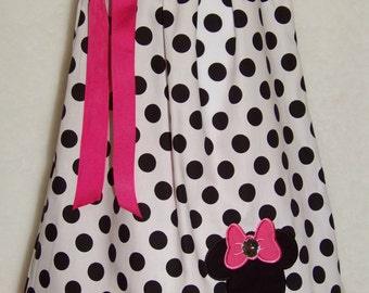 Minnie Mouse Pillowcase Dress / Mickey/ Disney / Pink/ Black/ Newborn / Infant / Baby / Girl / Toddler / Handmade / Custom Boutique Clothing