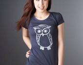 Navy Womens Owl T shirt Bamboo Organic Tshirt Women's Organic Clothing Eco Clothing by Uni-T