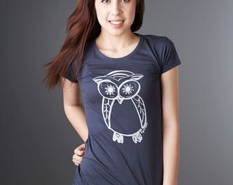 Navy Womens Owl T shirt Bamboo Organic Tshirt Women's Organic Clothing Eco Clothing by Uni-T
