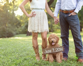 Save the Date sign, Engagement Photo Prop, Wooden Save the Date Sign, Pet Save the Date,  Save the Date Prop, Engagement Prop,