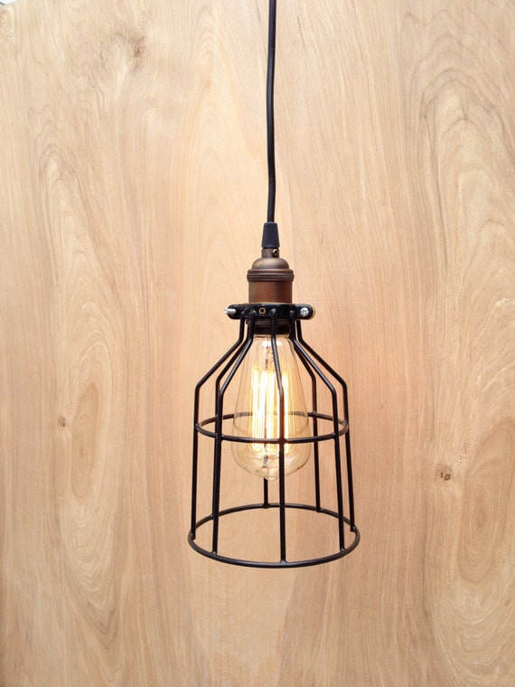 Industrial Pendant Light Black Metal Cage Modern By