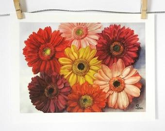 gerbera daisies art print, daisy painting, watercolor flowers, botanical wall art
