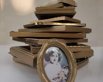 Antique Gold Painted Picture Frames.  Set of 6 Wedding Table Number Frames. Shabby Cottage Chic Decor.