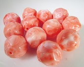16 Vintage 14mm Coral- Peach Acrylic Nugget Beads Bd1257