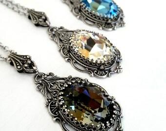 Victorian Gothic Crystal Necklace Swarovski Black Diamond Gothic Bridal Necklace Victorian Gothic Jewelry