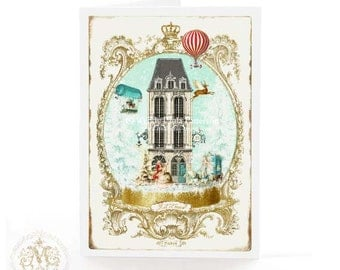 Christmas card, let it snow, Paris, apartment house, hot air balloon, in a snow globe, white Christmas, French, holiday card