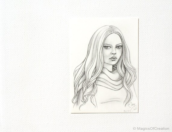 Dessin original au crayon jeune fille aux par magicsofcreation - Dessin de jeune fille ...