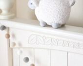 Pom Pom Garland- Cream Beige White Gray Wool Felt Ball Garland- Nuetral Colors Garland- Mantel Decor- Nursery Garland- Farmhouse Decor