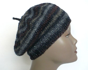 Striped Black Beret - Slouchy Tam, Hand Knit Hat, Artist Beret, Striped Beanie, Glittery Hat, Woman's Hat, Ready to Ship