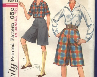 1960s Misses' Culottes in two lengths and Blouse - Simplicity Sewing Pattern 5154