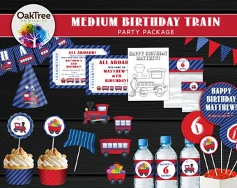 Medium Birthday Train Party Package Set - Printable - DIY - Invitation Included - 15 Items