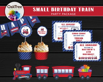 Small Birthday Train Party Package Set - Printable - DIY - Invitation Included - 7 Items