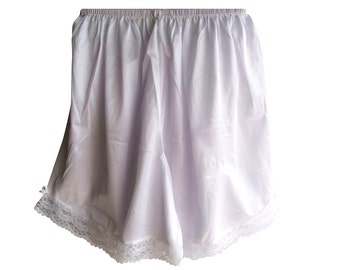 PPNAWH  Classic WHITE Pettipants Half Slips Shorts Nylon Lace Floral Lingerie Women