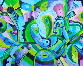 Two Extraterrestrials - Original Colourful Oil Painting On Canvas - Size: 27.3''x 39'' (70 cm X 100 Cm)