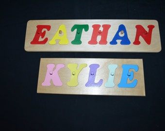 Handcrafted Wooden Name Puzzle With Pegs