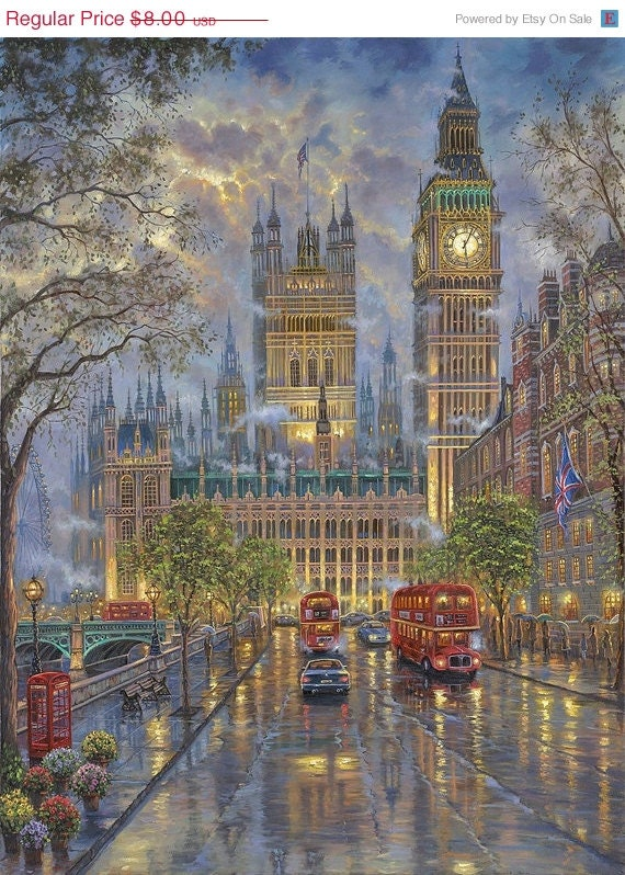 "GOOD PRICE - Limited Time Counted Cross Stitch Patterns - London with Big Ben - 26.36"" x 35.36"" - L633"