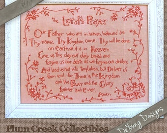 Redwork Embroidery Pattern *Lord's Prayer* Christian  embroidery design hand stitched gifts and home decor