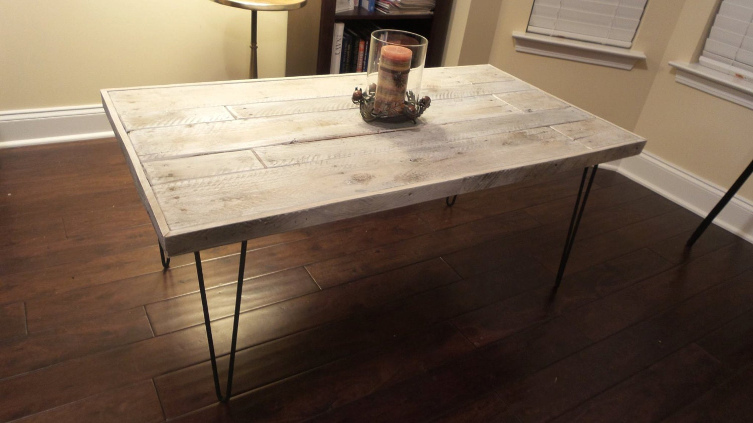 Rustic coffee table with antique hairpin legs for Vintage hairpin table legs