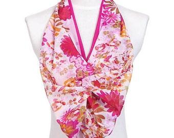 Womens Scarf, Burgundy Scarf, Wine Red Scarf, Floral Print Scarf, Chiffon Scarf, Voile Scarf, Cotton Scarf, Fashion Scarf