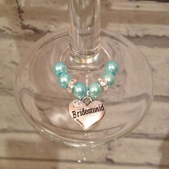 blue sparkle wedding wine glass charms buy 3 get 1 free