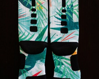 "Custom Nike Elite Socks for Lebron 10 Shoes ""Championship"" Light Blue"